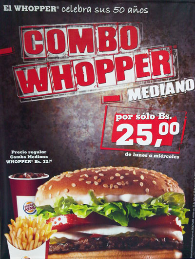 Whopper Promo de Burger King - agosto 2009