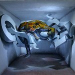 Odeith-5-walls-Anamorphic-3D-Graffiti-Letters-leopard-standing-inside-room-Lisboa-Portugal