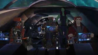 "MARVEL'S GUARDIANS OF THE GALAXY - ""Road to Knowhere"" - The newly christened Guardians of the Galaxy come into possession of a dangerous artifact that has Thanos' new second-in-charge, Korath, after them. ÒMarvel's Guardians of the GalaxyÓ premieres Saturday, September 26 (9:30 PM - 10:30 PM ET/PT) on Marvel Universe on Disney XD. (Disney XD) ROCKET RACCOON, GROOT, DRAX THE DESTROYER, GAMORA, PETER QUILL"